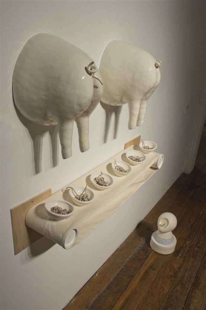 medical controversies, chicago ceramics, parasite, ceramic, sculpture, pig butt, modern medicine, whip worm, experiment, ceramic sculpture, mixed media art, parasite treatment, Dieffenbach, chicago ceramics artist, ceramic artist,