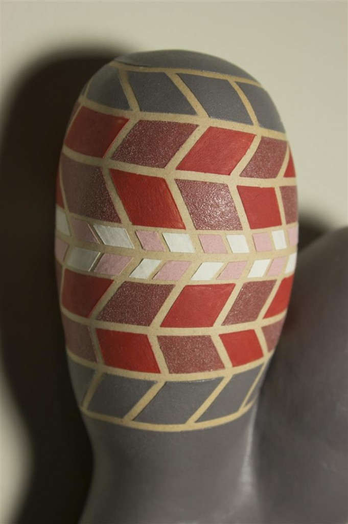 Chromosome, optical illusion, ceramic sculpture