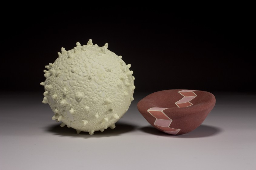 red blood cell, white blood cell, ceramic sculpture
