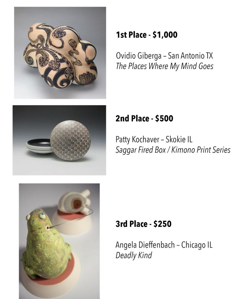 6th Central Time Ceramics Awards, Gail Kendall, Bradley University, Chicago art, Chicago ceramics, Angela Dieffenbach, Chicago Artists, Chicago sculpture